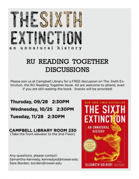Poster for Sixth Extinction RU Reading Together Event