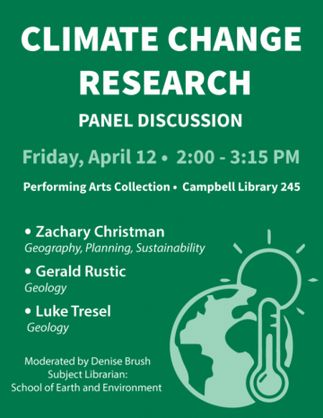 Climate Change Research Panel Discussion on Friday, April 12